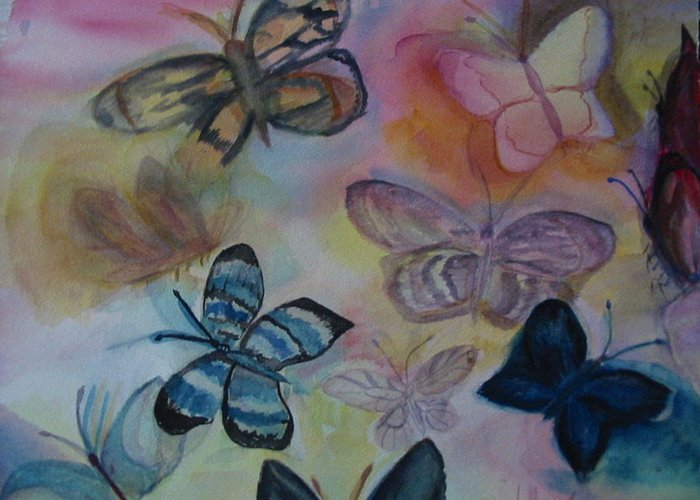 Butterfly Greeting Card featuring the painting Who Is Prettiest by Marian Hebert