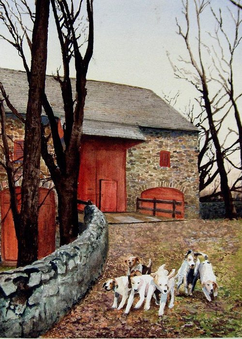 Barn Greeting Card featuring the painting Who Let The Dogs Out Who Who by Haldy Gifford