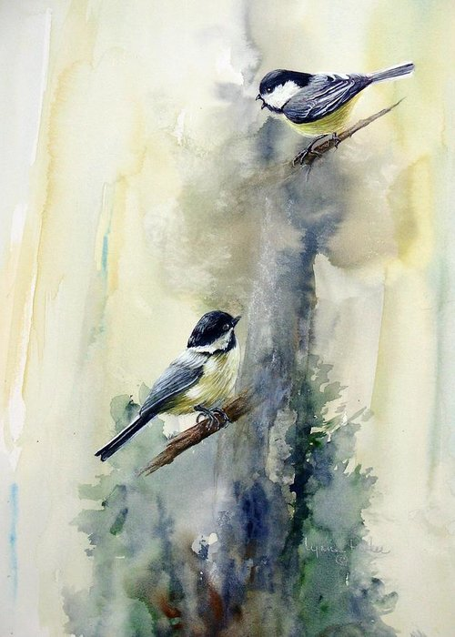 Chickadees Greeting Card featuring the print Who Says by Lynne Parker