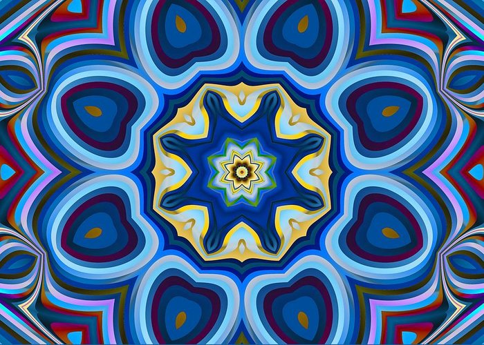 Vivid Greeting Card featuring the digital art Whorl Kaleidoscope by Christopher Jay