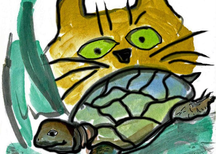 Turtle Greeting Card featuring the painting Who's Gonna Win this Race by Ellen Miffitt