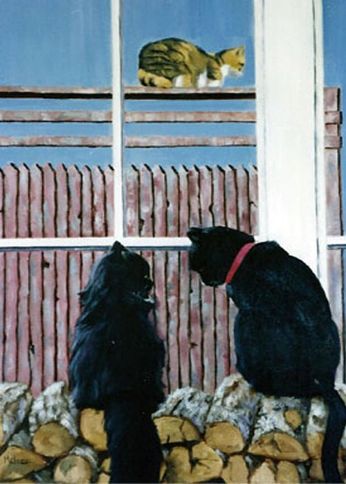 Cat Portrait Greeting Card featuring the painting Who's That by Fran Rittenhouse-McLean