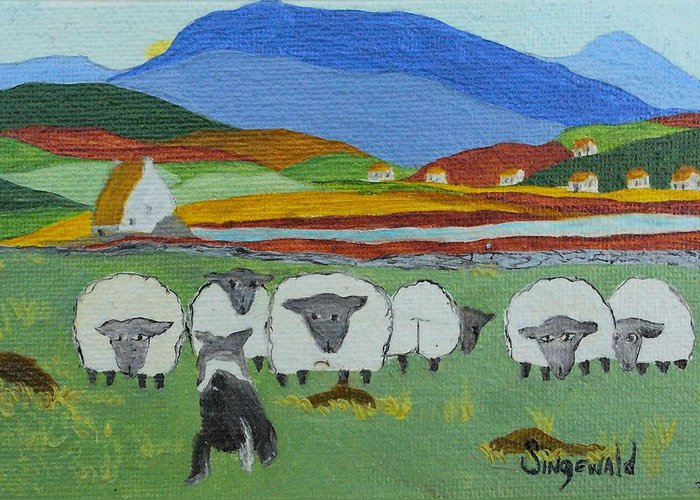 Celtic Greeting Card featuring the painting Whos The Boss by Cary Singewald