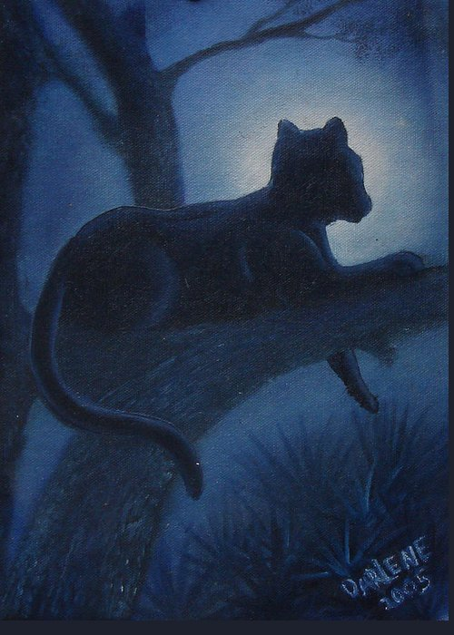 Cougar Greeting Card featuring the painting Whos Watching Who Cougar by Darlene Green