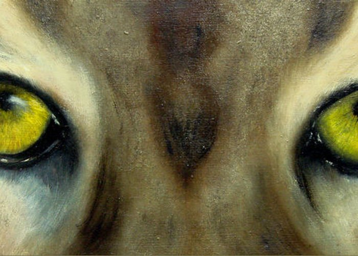 Eyes Greeting Card featuring the painting Who's watching who...Florida Panther by Darlene Green