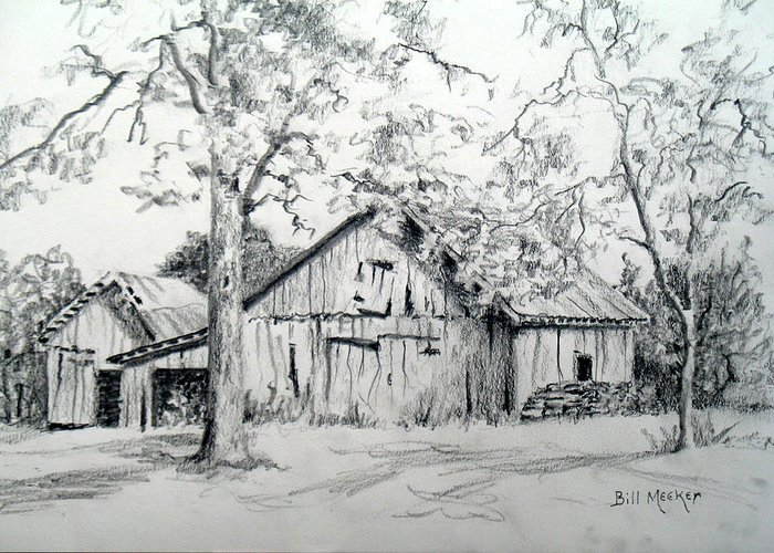 Barn Greeting Card featuring the drawing Whose Barn This Is I Think I Know by Bill Meeker