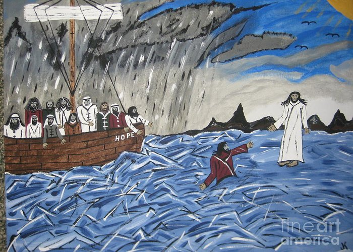Water Greeting Card featuring the painting Why Did You Doubt Me by Jeffrey Koss