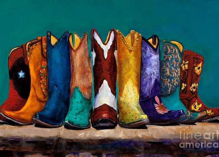Cowboy Boot Greeting Card featuring the painting Why Real Men Want To Be Cowboys 2 by Frances Marino