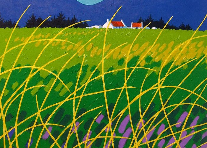 Irish Landspare Greeting Card featuring the painting Wicklow Meadow Ireland by John Nolan