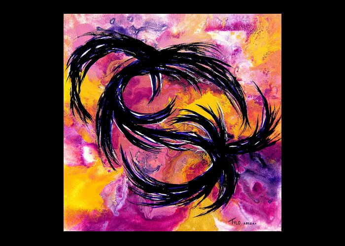 Contemporary Abstract Greeting Card featuring the painting Wide Awake by Tylo Jacobs