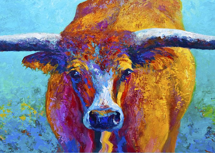 Western Paintings Greeting Card featuring the painting Widespread - Texas Longhorn by Marion Rose