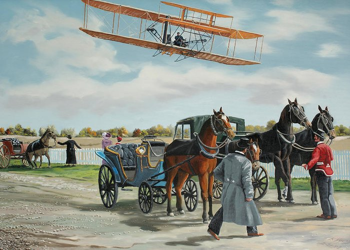 Aircraft Art Greeting Card featuring the painting Wilbur Wright In France by Kenneth Young