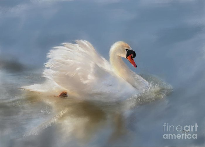 Swan Greeting Card featuring the digital art Wild Beauty Painted by Lois Bryan