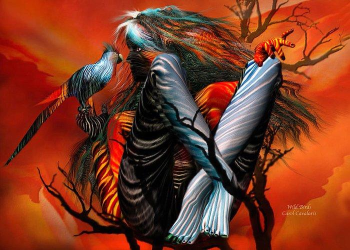 Fantasy Art Greeting Card featuring the mixed media Wild Birds by Carol Cavalaris
