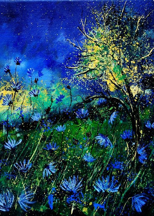 Poppies Greeting Card featuring the painting Wild Chocoree by Pol Ledent