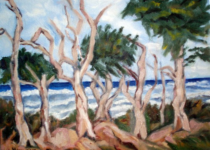 Ocean Greeting Card featuring the painting Wild Coast by Lia Marsman