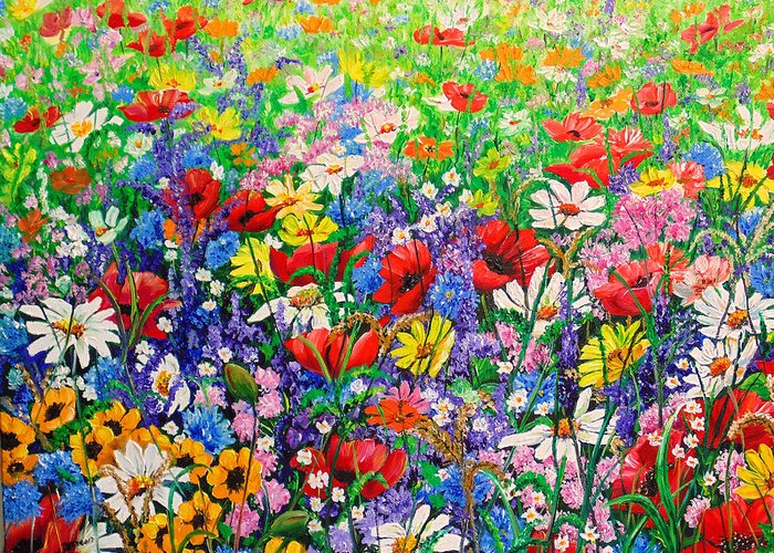 Wild Flowers Greeting Card featuring the painting Wild Flower Meadow by Karin Dawn Kelshall- Best