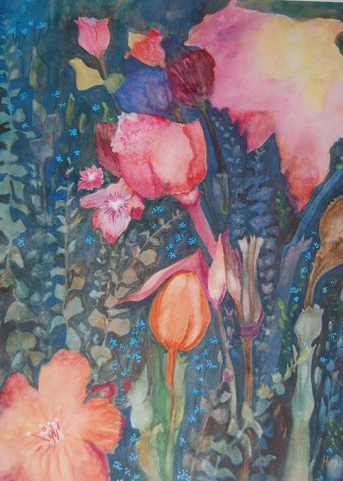 Flower Abstract Greeting Card featuring the painting Wild Flowers In The Wind II by Henny Dagenais