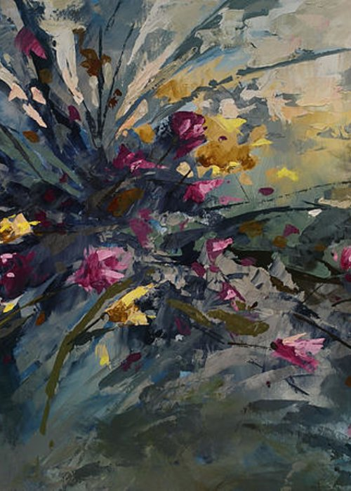 Flowers Greeting Card featuring the painting 'wild Flowers' by Michael Lang