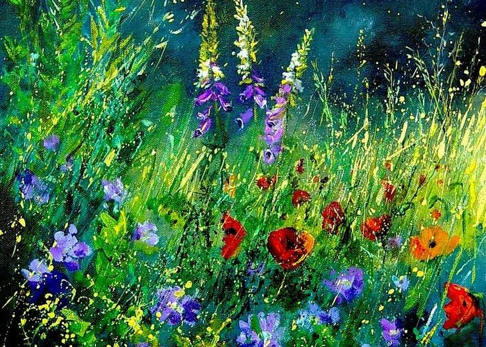 Poppies Greeting Card featuring the painting Wild Flowers by Pol Ledent