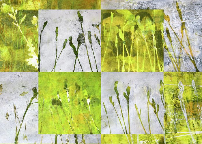Wild Grass Collage Greeting Card featuring the painting Wild Grass Collage 3 by Nancy Merkle