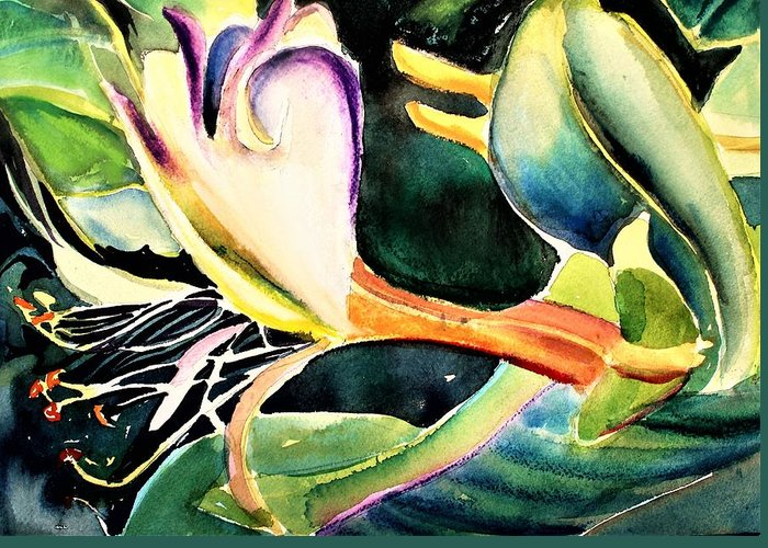 Honeysuckle Greeting Card featuring the painting Wild Honeysuckle by Mindy Newman