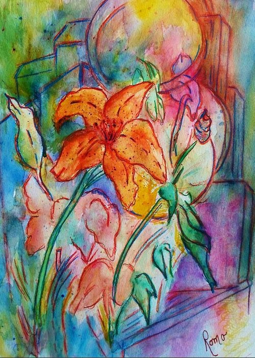 Floral Greeting Card featuring the painting Wild Lily by Robin Monroe