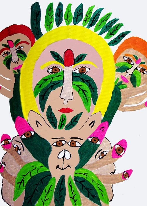 Greeting Card featuring the painting Wild Look Of The Green Plant Lady by Betty Roberts