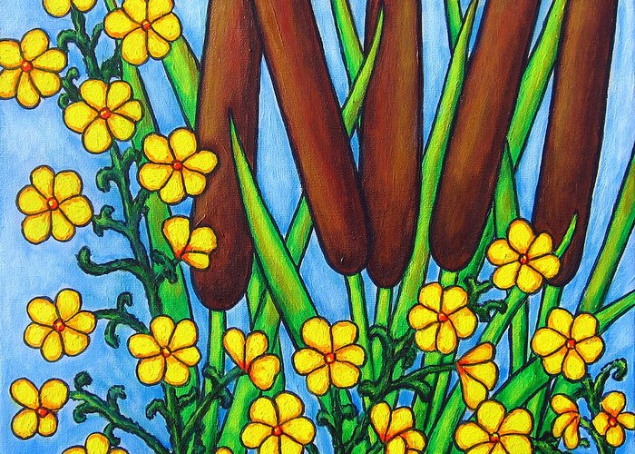 Cat Tails Greeting Card featuring the painting Wild Medley by Lisa Lorenz
