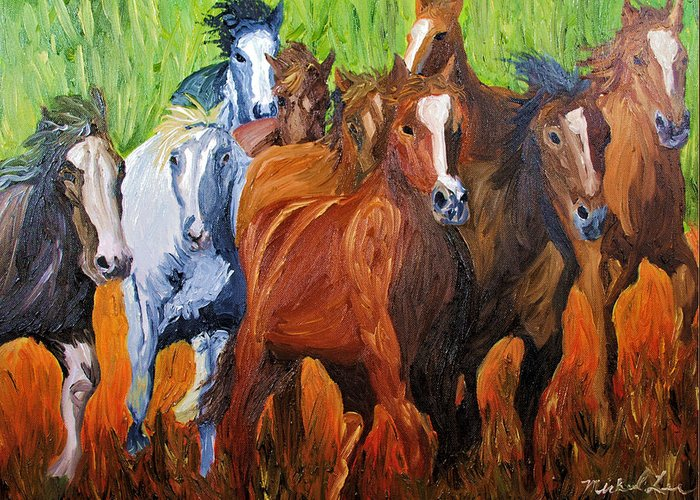 Wild Horse Greeting Card featuring the painting Wild N Free Forever by Michael Lee