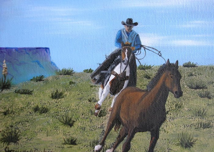 Cowboy Greeting Card featuring the painting Wild Pony by Charolette A Coulter