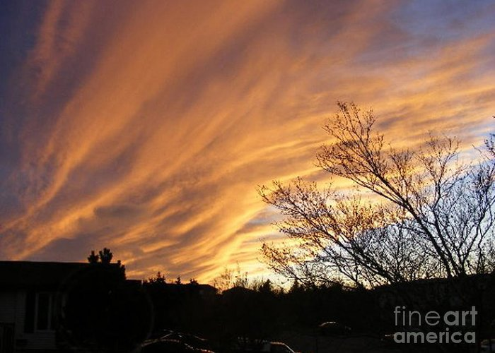 Red Clouds Greeting Card featuring the photograph Wild Sky Of Autumn by Barbara Griffin