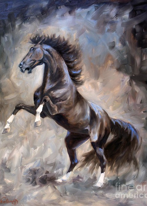 Horse Greeting Card featuring the painting Wild Thing by Jeanne Newton Schoborg