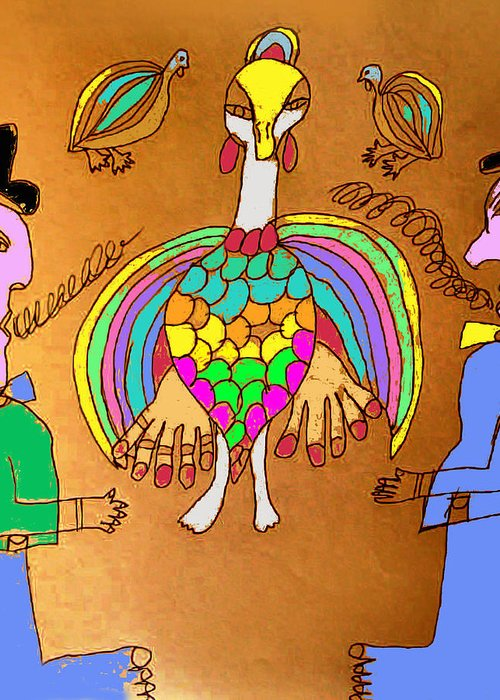 Greeting Card featuring the mixed media Wild Turkey Hands Dance by Betty Roberts