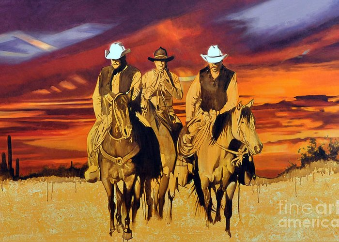 Cowboys Greeting Card featuring the painting Arizona Sunset by Michael Stoyanov
