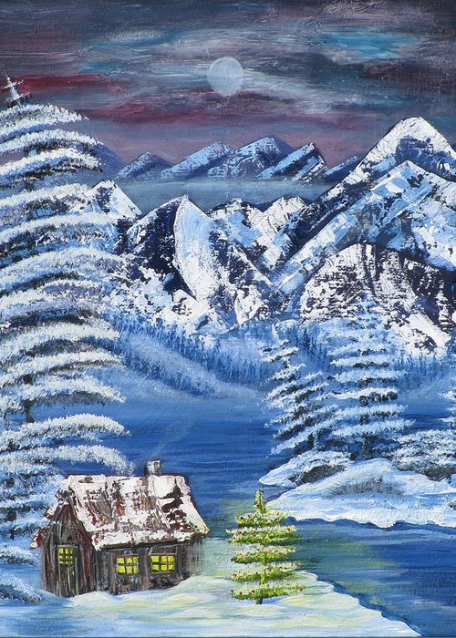 Snow Greeting Card featuring the painting Wilderness Christmas by Mikki Alhart