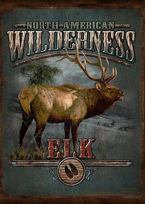 Bruce Miller Greeting Card featuring the painting Wilderness Elk by JQ Licensing