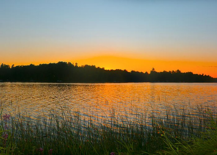 Sunset Greeting Card featuring the photograph Wilderness Point Sunset Panorama by Gary Eason