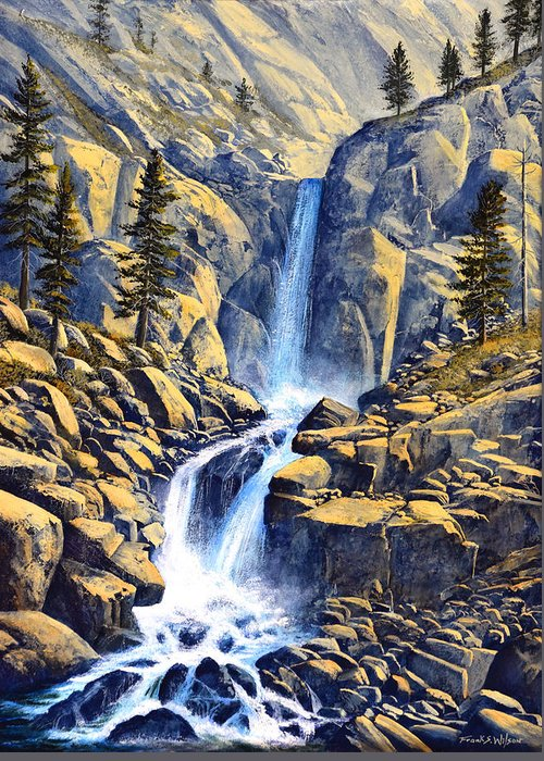 Wilderness Waterfall Greeting Card featuring the painting Wilderness Waterfall by Frank Wilson