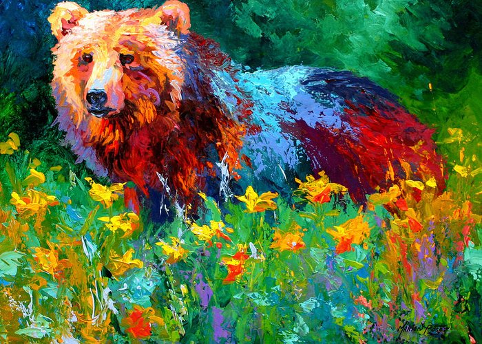 Bear Greeting Card featuring the painting Wildflower Grizz II by Marion Rose
