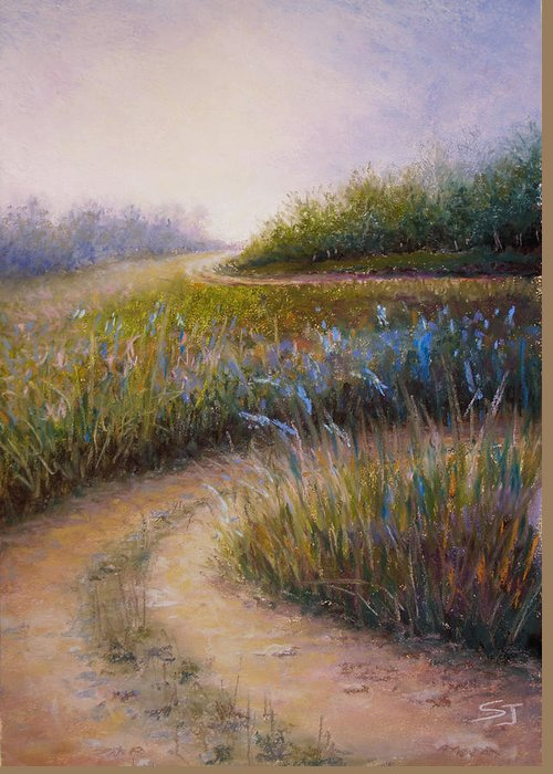 Lanscape Greeting Card featuring the painting Wildflower Road by Susan Jenkins