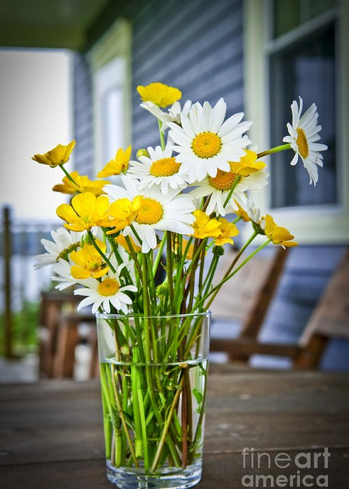 Bouquet Greeting Card featuring the photograph Wildflowers Bouquet At Cottage by Elena Elisseeva