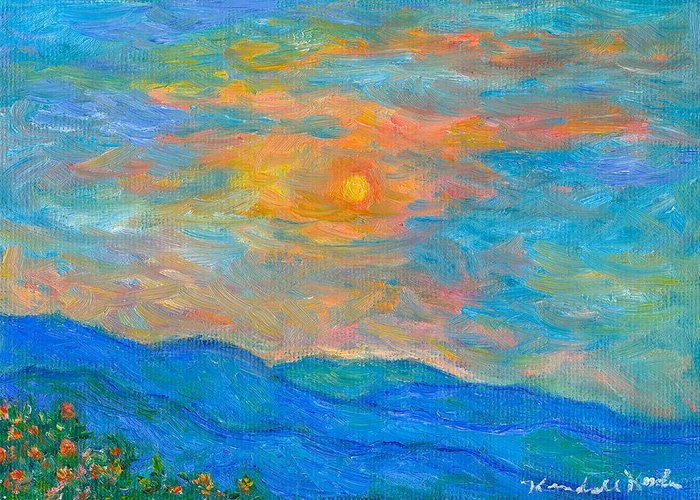 Landscape Greeting Card featuring the painting Wildflowers By A Blue Ridge Sunset by Kendall Kessler