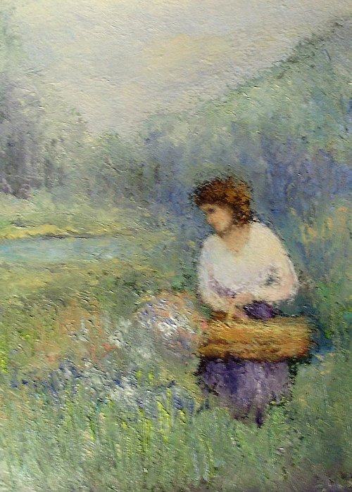 Woman Greeting Card featuring the painting Wildflowers by Gail Kirtz
