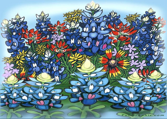 Wildflowers Greeting Card featuring the digital art Wildflowers by Kevin Middleton