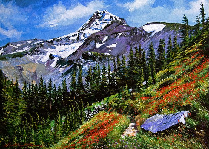 Mountain Greeting Card featuring the painting Wildflowers Mount Hood by David Lloyd Glover