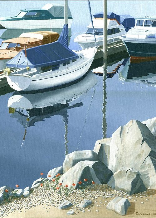 Sailboat Greeting Card featuring the painting Wildflowers On The Breakwater by Gary Giacomelli