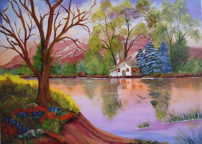 Landscape Reflection Building Church Lake Greeting Card featuring the painting Wildwood Church by Sherry Winkler
