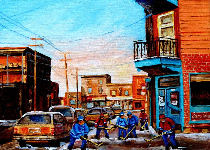 Hockey Greeting Card featuring the painting Wilensky's A Friendly Game Of Hockey by Carole Spandau