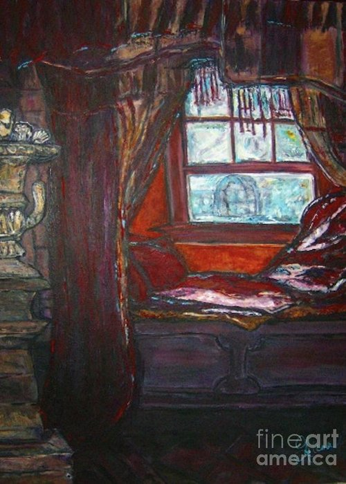 Windowseat Greeting Card featuring the painting Wilhelmina's Windowseat by Helena Bebirian